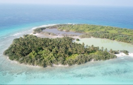 Aerial view depicting a semi-enclosed mangrove in Farukolhu, Shaviyani Atoll. PHOTO: LUJAIN HASAN / THE EDITION