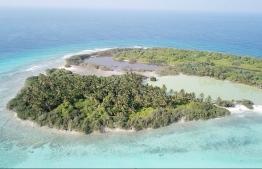 Aerial view depicting a semi-enclosed mangrove in Farukolhu, Shaviyani Atoll. PHOTO: LUJAIN HASAN / THE EDITION