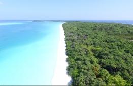 Aerial view of the beautiful beach dotting a corner of Farukolhu, Shaviyani Atoll. PHOTO: THE EDITION