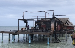 Aftermath of the fire in Hudhuranfushi. PHOTO: MNDF