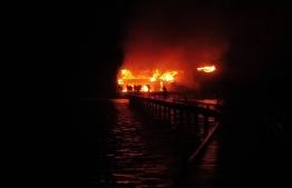 The fire in Hudhuranfushi. PHOTO: MNDF