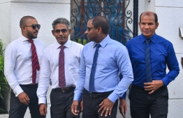 L-R: Maduvvari MP Mohamed Ameeth, Thulusdhoo MP Mohamed Waheed Ibrahim, Villingili MP Saud Hussain, Dhidhdhoo MP Abdul Latheef Mohamed, outside the Supreme Court after their reinstatement to parliament. PHOTO: HUSSAIN WAHEED/MIHAARU