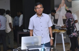 Rainbow's MD Ibrahim Rafeeg launches the company's new online store at the ceremony held to mark Rainbow Enterprises' 28th anniversary. PHOTO: AHMED NISHAATH/MIHAARU