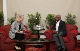 The Acting Principal Deputy Assistant Secretary of US Department of State for South and Central Asian Affairs, Alice Wells, meets with President-Elect Ibrahim Mohamed Solih.