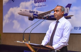 MACL's Managing Director Adil Moosa speaks after the inaugural flight of India's GoAir to Velana International Airport. PHOTO: HUSSAIN WAHEED/MIHAARU