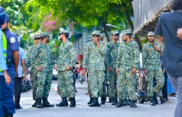 Military personnel on duty. Maldives National Defence Force (MNDF) raised the alert status of the country at 1900hrs on December 24. PHOTO: HUSSAIN WAHEED/ MIHAARU