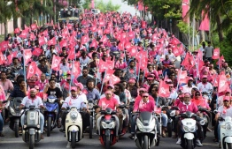 PPM supporters hold a motorbike rally in Hulhumale during President Abdulla Yameen's presidential campaign. PHOTO/PPM