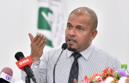 Elections Commission's President Ahmed Shareef speaks at a press conference. PHOTO/MIHAARU