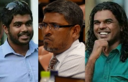 L-R: Yameen Rasheed, Dr. Afrasheem Ali, Ahmed Rilwan. PHOTO/MIHAARU