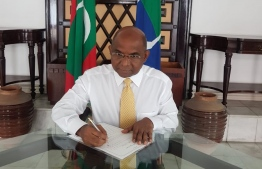 Henveiru North MP Abdulla Shahid at the parliament to file a motion to repeal the Freedom of Speech and Defamation Act.