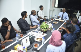 All heads of departments leading Mihaaru, Dho and The Edition, sat with President-Elect Solih for a brief discussion. PHOTO: MIHAARU