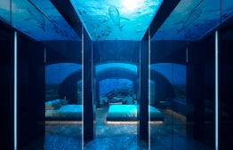 The master bedroom of The Muraka, the world's first underwater residence. PHOTO: CONRAD MALDIVES RANGALI
