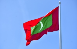 National flag of the Maldives at Republic Square. FILE PHOTO/MIHAARU