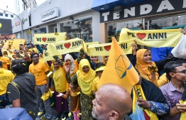 November 1, 2018, Male City: Supporters hold up banners to welcome former President Mohamed Nasheed upon his return to Maldives after 3 years. PHOTO: NISHAN ALI/MIHAARU