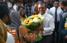 November 1, 2018, Male City: Former President Mohamed Nasheed received at the capital, upon his return to Maldives after 3 years. PHOTO: NISHAN ALI/MIHAARU