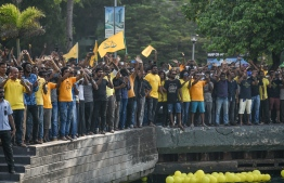 November 1, 2018, Male City: Supporters gathered to welcome former President Mohamed Nasheed upon his return to Maldives after 3 years. PHOTO: NISHAN ALI/MIHAARU