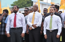 November 1, 2018, Male City: President-Elect Ibrahim Mohamed Solih (C), and opposition coalition leaders Qasim Ibrahim (L) and Sheikh Imran Abdulla at the celebrations held to welcome former President Mohamed Nasheed upon his return to Maldives after 3 years. PHOTO: NISHAN ALI/MIHAARU