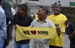 November 1, 2018, Male City: Supporters hold up banners to welcome former President Mohamed Nasheed upon his return to Maldives after 3 years. PHOTO: AHMED NISHAATH/MIHAARU