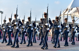 Male City, November 3, 2018: The musical drill held by MNDF soldiers at the Republic Square to mark Victory Day. PHOTO: NISHAN ALI/MIHAARU