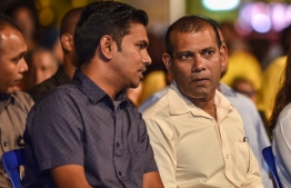 Mohamed Nasheed (R) and Mohamed Shifaz, who were elected as Maldivian Democratic Party (MDP)'s President and Vice President, respectively, in the party's Leadership Election held on November 22. PHOTO: MIHAARU FILES
