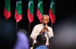 President-Elect Ibrahim Mohamed Solih speaks at the opposition gathering 'Jazeera Holhuashi'. PHOTO: HUSSAIN WAHEED/MIHAARU