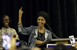 Ilhan Omar, newly elected to the U.S. House of Representatives on the Democratic ticket, speaks to a group of supporters in Minneapolis, Minnesota on November 6, 2018. US voters elected two Muslim women, both Democrats, to Congress on November 6, 2018, marking a historic first in a country where anti-Muslim rhetoric has been on the rise, American networks reported. Ilhan Omar, a Somali refugee, won a House seat in a heavily-Democratic district in the Midwestern state of Minnesota, where she will succeed Keith Ellison, himself the first Muslim elected to Congress. Kerem Yucel / AFP (AFP/Kerem Yucel)