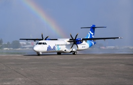 The first air craft of Manta Air following its landing at Velana International airport. PHOTO: AHMED NISHAATH / MIHAARU
