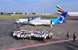 The arrival of the first aircraft of Manta Air at Velana International airport. PHOTO: AHMED NISHAATH/MIHAARU