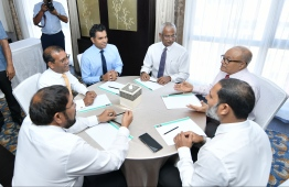 [Bottom Left to Right]: Jumhooree Party leader Qasim Ibrahim, former President Mohamed Nasheed, Vice President Faisal Naseem, President Ibrahim Mohamed Solih, former President Maumoon Abdul Gayoom, and Home Minister Imran Abdulla. FILE PHOTO/MIHAARU