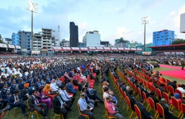 November 17, 2018, Male City: Attendees at President Ibrahim Mohamed Solih's inauguration at the National Stadium. PHOTO: NISHAN ALI/MIHAARU
