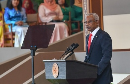 November 17, 2018, Male City: President Ibrahim Mohamed Solih addresses the nation following his inauguration. PHOTO: NISHAN ALI/MIHAARU