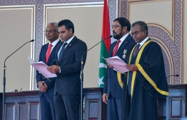 November 17, 2018, Male City: Vice President Faisal Naseem takes his oath of office. PHOTO: NISHAN ALI/MIHAARU
