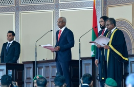 November 17, 2018, Male City: President Ibrahim Mohamed Solih takes his presidential oath. PHOTO: NISHAN ALI/MIHAARU