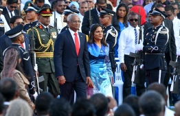 President Ibrahim Mohamed Solih and First Lady Fazna Ahmed at the Oath Taking Ceremony. PHOTO: MIHAARU