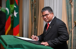 Environment Minister at the oath-taking ceremony of the cabinet. PHOTO: HUSSAIN WAHEED / MIHAARU