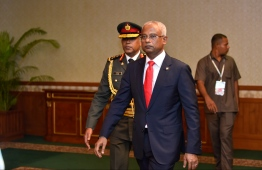 November 17, 2018, Male City: President Ibrahim Mohamed Solih arrives at the President's Office after his inauguration. PHOTO: HUSSAIN WAHEED/MIHAARU