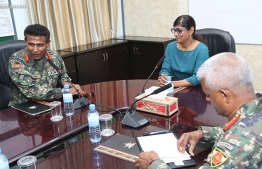 Defence Minister Mariya Didi meets with MNDF Officials. PHOTO: MIHAARU