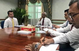 President Solih and VP Faisal meeting with Addu City council members and parliamentarians. PHOTO: TWITTER