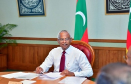 President Ibrahim Mohamed Solih during the first cabinet meeting. PHOTO: AHMED HAMDHOON/MIHAARU