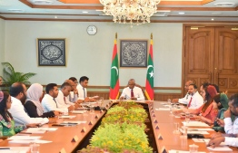 President Ibrahim Mohamed Solih's first cabinet meeting. PHOTO/PRESIDENT'S OFFICE