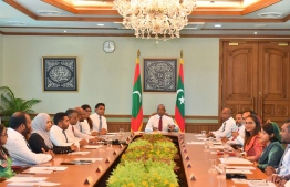 President Ibrahim Mohamed Solih and the cabinet ministers. PHOTO: PRESIDENT'S OFFICE