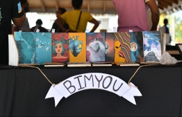 'BIMYOU' featuring their custom made book designs during the 5-year anniversay show of 'Fannuge Dharin'. PHOTO: AHMED NISHAATH/MIHAARU