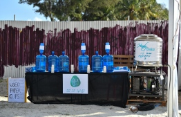 Local conservation project 'Plastic Noon Gotheh' and local water manufacturing company 'Handy Water' providing free drinking water during the 5-year anniversary show of 'Fannuge Dharin'. PHOTO: AHMED NISHAATH/MIHAARU