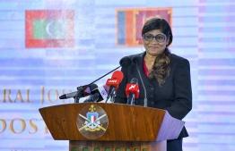 Defence Minister Mariya Ahmed Didi at the opening ceremony of 'Dosti 14'. PHOTO: AHMED NISHAATH / MIHAARU