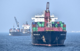 A container ship carrying imported cargo to Maldives. PHOTO: NISHAN ALI / MIHAARU