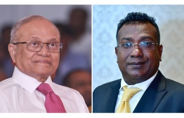 Former President Maumoon Abdul Gayoom (L) and Kaashidhoo MP Abdulla Jabir clash over MVR 29 million allegedly loaned to the former president.  PHOTO: MIHAARU