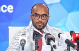 Minister of Finance Ibrahim Ameer at a press conference. Finance ministry assures PPM's funds will be issued within the week. PHOTO: MIHAARU FILES