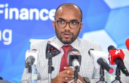Minister of Finance Ibrahim Ameer issuing a press release on December 3, 2019. PHOTO: AHMED NISHAATH/MIHAARU.