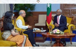 Indian Ambassador Akhilesh Mishra and his wife visit President Ibrahim Mohamed Solih. PHOTO: PRESIDENT'S OFFICE