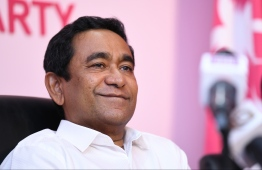 Former President Abdulla Yameen Abdul Gayoom at a press briefing. PHOTO: HUSSAIN WAHEED/MIHAARU